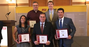 James Murphy with Dean Kyle Squires of the Ira A. Fulton School of Engineering,  and additional alum recipients of the Sun Devil 100 award.