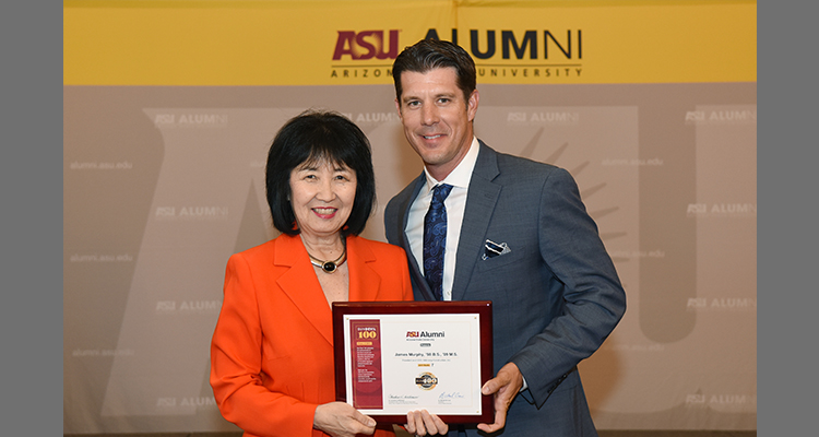 James Murphy photographed with Dr. Christine Wilkinson, President and CEO of the ASU Alumni Association, Senior Vice President and Secretary of ASU, and Managing Director of the Trustees of ASU.